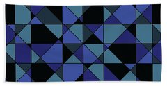 Beach Sheet featuring the digital art Unique Bold Hip Blue Cyan Grey Black Geometric Pattern by Shelley Neff