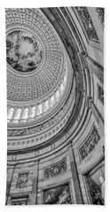 Beach Towel featuring the photograph Unites States Capitol Rotunda Bw by Susan Candelario