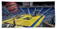 University Of Michigan Basketball Beach Towel by Nicholas Grunas