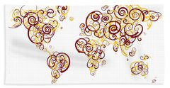 University Of Minnesota Twin Cities Colors Swirl Map Of The Worl Beach Towel by Jurq Studio