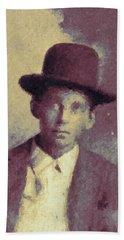 Beach Towel featuring the digital art Unknown Boy In A Bowler Hat by Matt Lindley