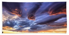 Alien Cloud Formations Beach Sheet