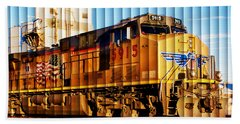 Up 5915 At Track Speed Beach Towel by Bill Kesler
