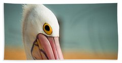Up Close And Personal With My Pelican Friend Beach Sheet