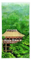 Beach Towel featuring the painting Up High Temple by Yoshiko Mishina