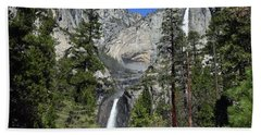 Upper And Lower Yosemite Falls Beach Towel