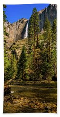 Upper Yosemite Falls From Yosemite Creek Beach Towel