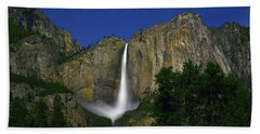 Upper Yosemite Falls Under The Stairs Beach Towel