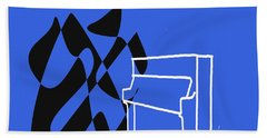 Upright Piano In Blue Beach Towel