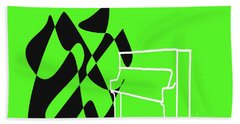 Upright Piano In Green Beach Towel