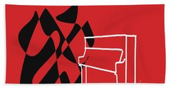 Upright Piano In Red Beach Towel