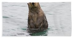 Upright Sea Otter Beach Towel