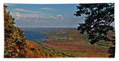 Upstate Autumn Beach Sheet by Richard Engelbrecht