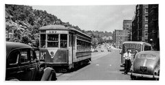 Beach Sheet featuring the photograph Uptown Trolley Near 193rd Street by Cole Thompson