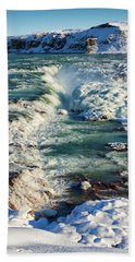 Urridafoss Waterfall Iceland Beach Sheet by Matthias Hauser