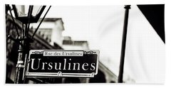 Ursulines In Monotone, New Orleans, Louisiana Beach Towel