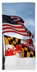 Us And Maryland Flags Beach Towel