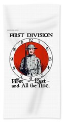Beach Towel featuring the painting Us Army First Division - Ww1 by War Is Hell Store