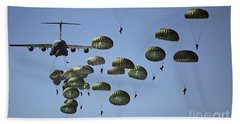 U.s. Army Paratroopers Jumping Beach Towel