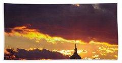 U.s. Capitol Dome At Sunset Beach Sheet