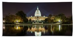 Us Capitol Night Panorama Beach Towel