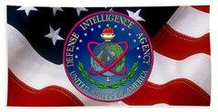 U. S. Defense Intelligence Agency - D I A Emblem Over Flag Beach Towel