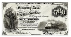 Beach Towel featuring the digital art U.s. Five Hundred Dollar Bill - 1864 $500 Usd Treasury Note  by Serge Averbukh