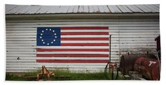 Us Flag Barn Beach Sheet
