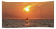 Us Flag Floating At Sunrise Beach Towel