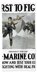 Us Marine Corps - First To Fight  Beach Towel