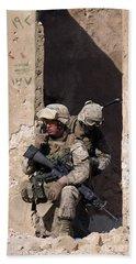 U.s. Marines Taking Cover In An Beach Towel