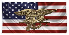 U.s. Navy Seals Trident Over U.s. Flag Beach Sheet