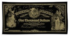 Beach Sheet featuring the digital art U. S. One Thousand Dollar Bill - 1863 $1000 Usd Treasury Note In Gold On Black by Serge Averbukh