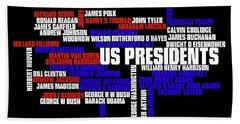 Us Presidents Typography Beach Towel