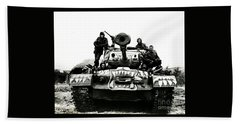 U.s. Troops With Korean Tank 1951 Beach Towel