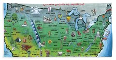 Usa Cartoon Map Beach Sheet by Kevin Middleton