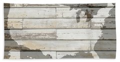 Usa Map Of America Outline On White Barn Wood Planks Beach Towel