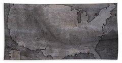 Usa Map Outline On Concrete Wall Slab Beach Towel