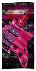 Beach Sheet featuring the photograph Usa Pink Strat Guitar Music by Guitar Wacky