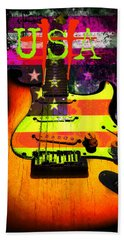 Beach Towel featuring the photograph Usa Strat Guitar Music by Guitar Wacky
