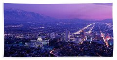 Usa, Utah, Salt Lake City, Aerial, Night Beach Towel