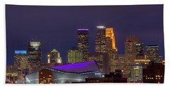 Usbank Stadium Dressed In Purple Beach Sheet