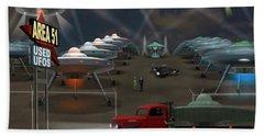 Area 51 Used U F O S Beach Towel by Mike McGlothlen