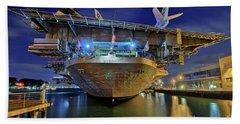 Uss Midway Aircraft Carrier  Beach Towel