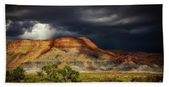 Utah Mountain With Storm Clouds Beach Towel