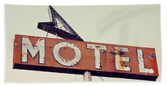 Vacancy Vintage Motel Sign Beach Sheet by Melanie Alexandra Price