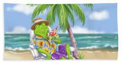 Vacation Relaxing Frog Beach Towel