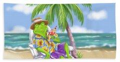 Vacation Relaxing Frog Beach Sheet