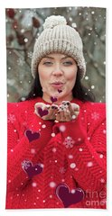 Beach Towel featuring the photograph Valentines Kisses... by Nina Stavlund
