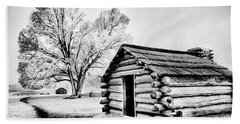 Beach Towel featuring the photograph Valley Forge Winter Troops Hut                           by Paul W Faust - Impressions of Light